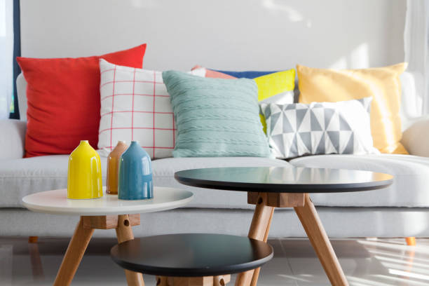 colorful cushion on sofa stock photo