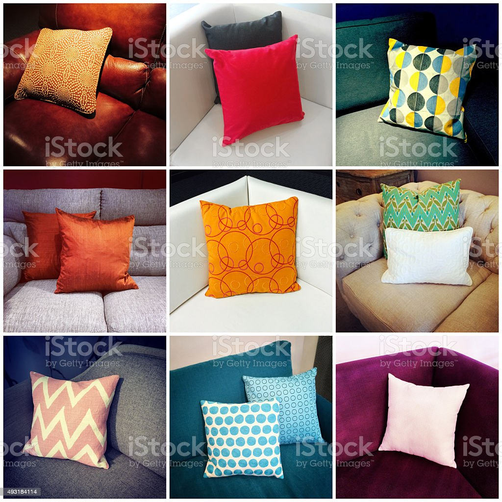 Colorful cushions, interior design collage stock photo