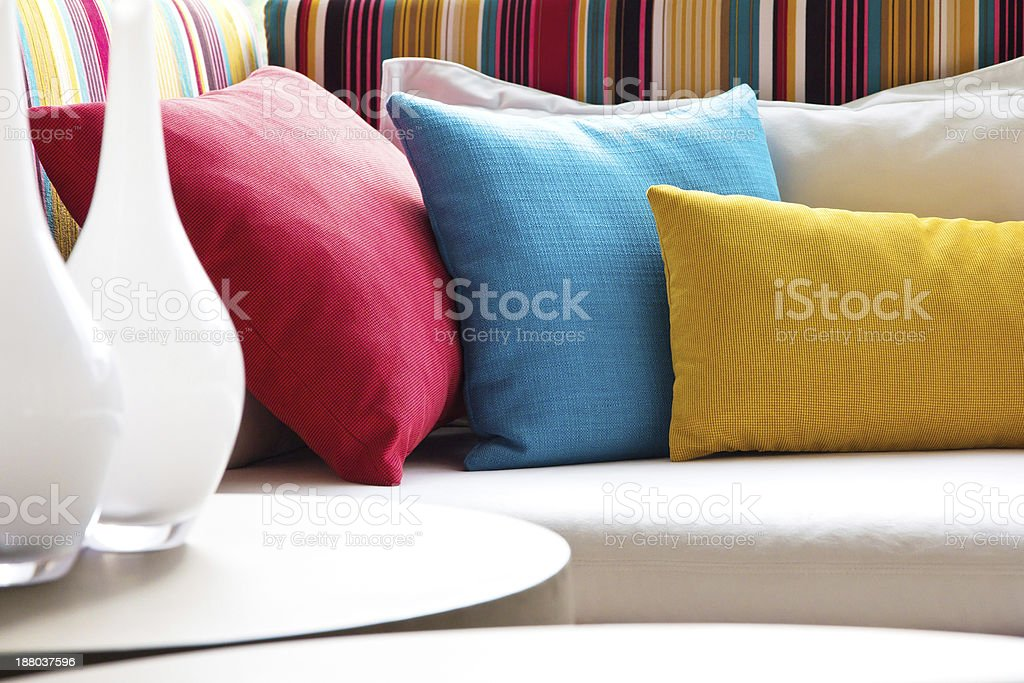 Colorful cushions stock photo