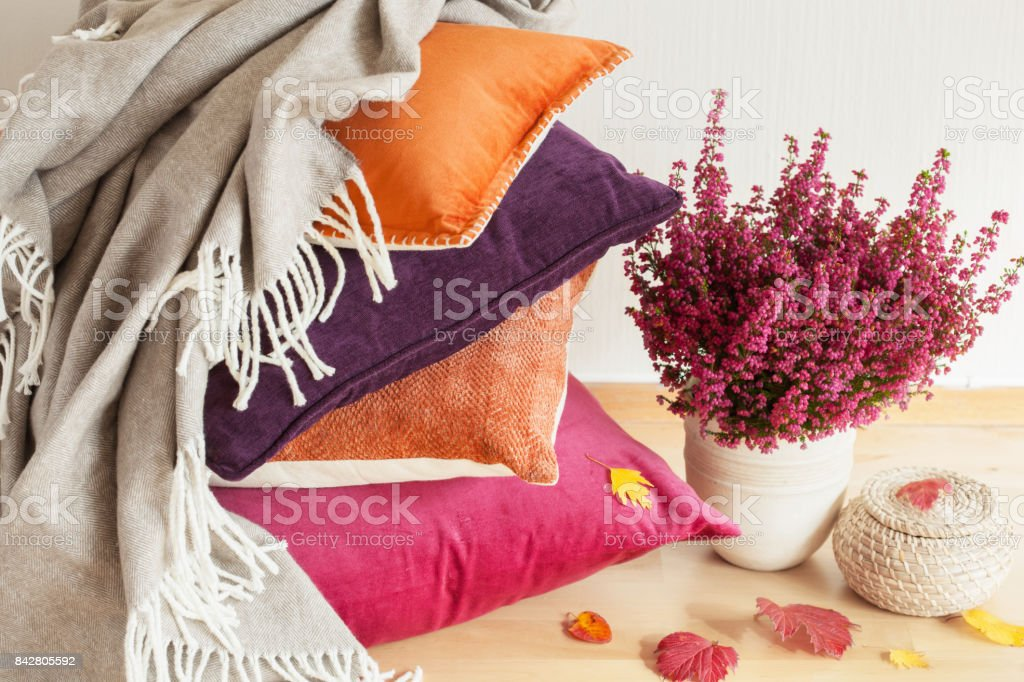 colorful cushions throw cozy home autumn mood flower leaf stock photo