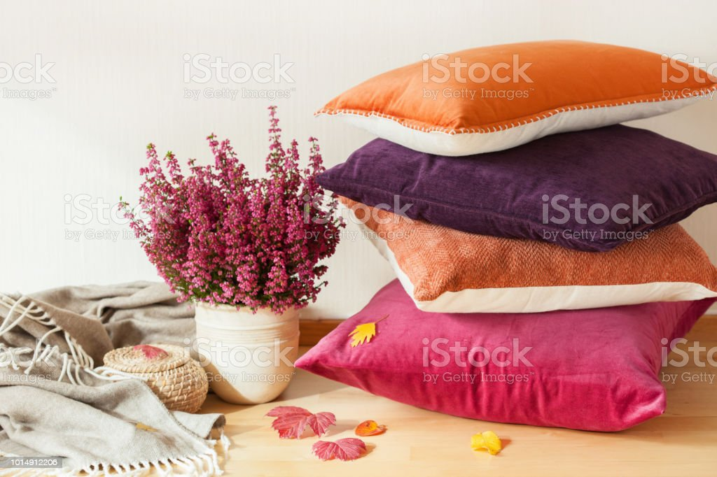 colorful cushions throw cozy home autumn mood flower stock photo