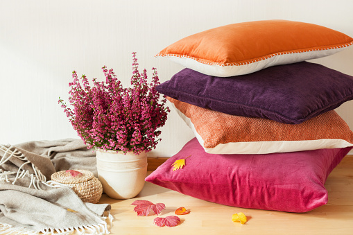 Colorful Cushions Throw Cozy Home Autumn Mood Flower Stock Photo - Download Image Now