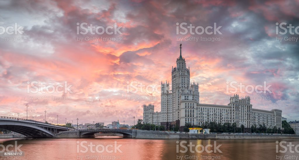 Colorful dawn on the background of the House on the Kotelnichesk stock photo