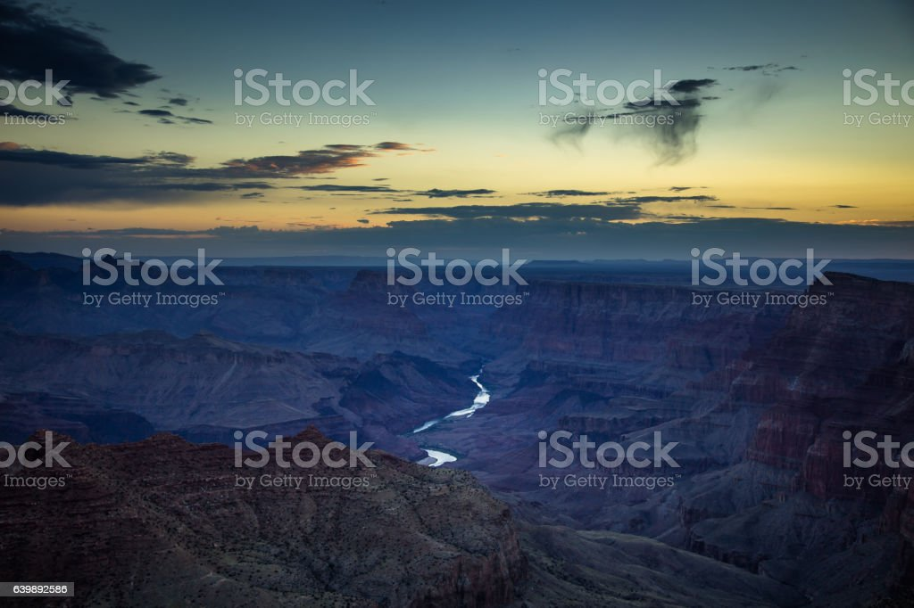 Colorful Dawn Sky Over Shadown Grand Canyon stock photo
