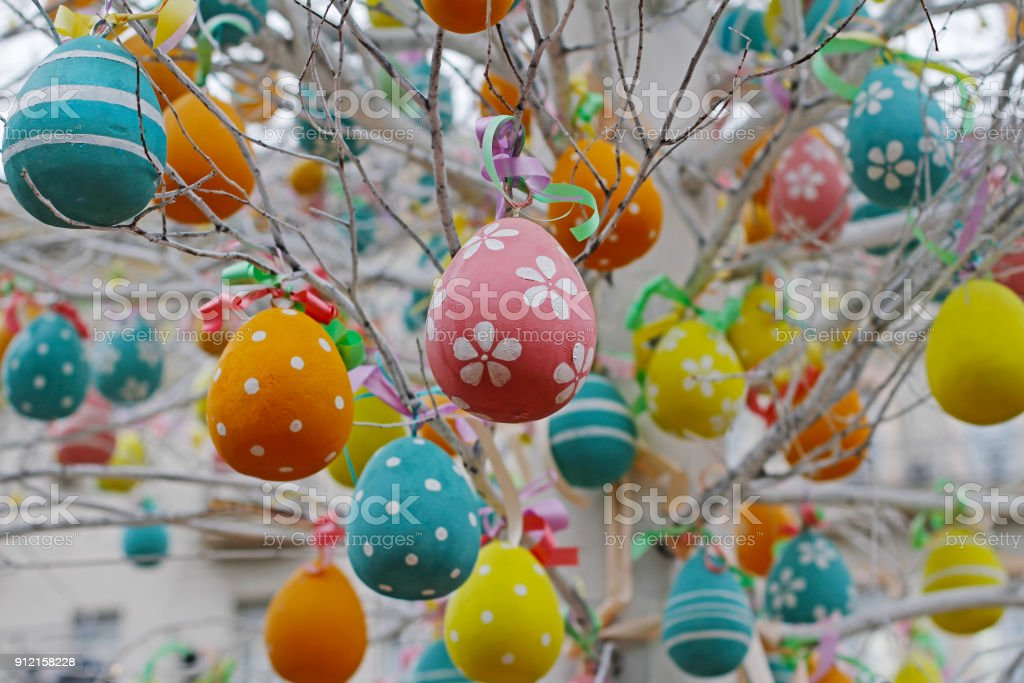 Colorful Decorated Easter Eggs Hanging On Tree Branches Stock Photo Download Image Now Istock