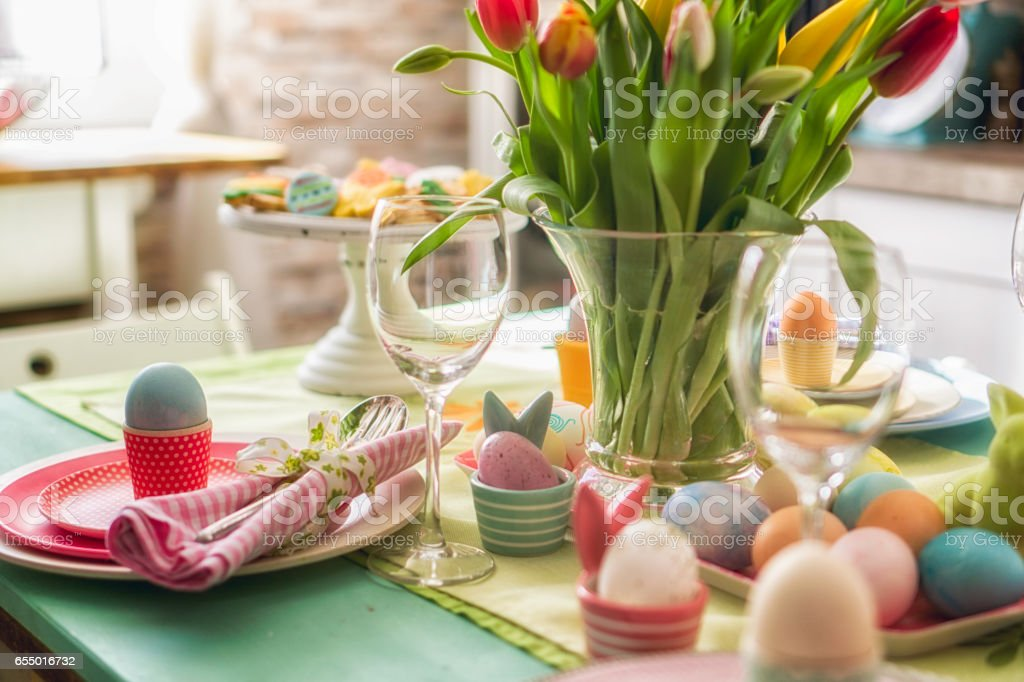 Colorful Decorated Easter Place Setting stock photo