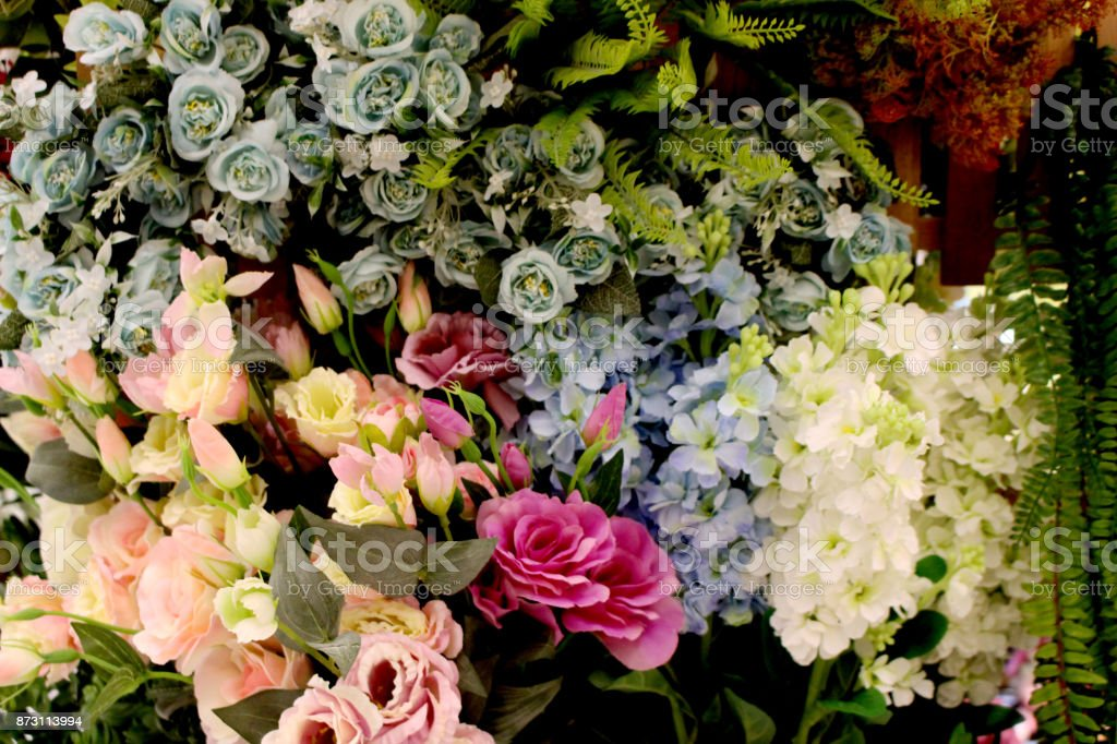Colorful decoration artificial flower (vintage) stock photo