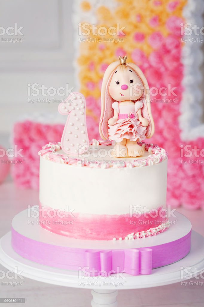Miraculous Colorful Decoration Of A First Year Birthday Cake Closeup Image Funny Birthday Cards Online Alyptdamsfinfo