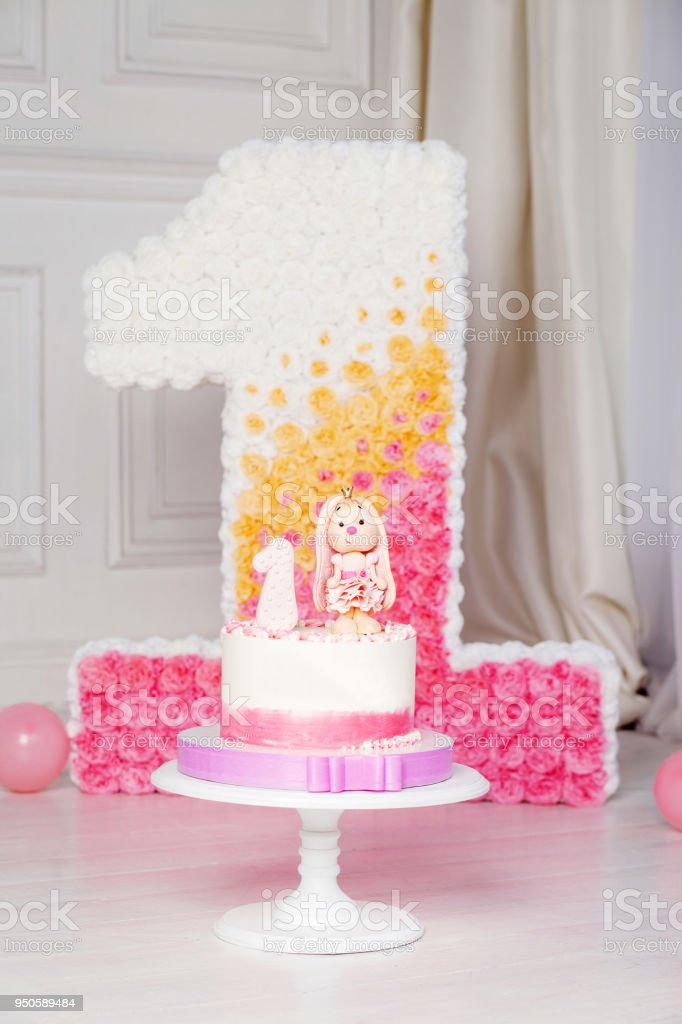 Awe Inspiring Colorful Decoration Of A First Year Birthday Cake Decorated Number Personalised Birthday Cards Beptaeletsinfo