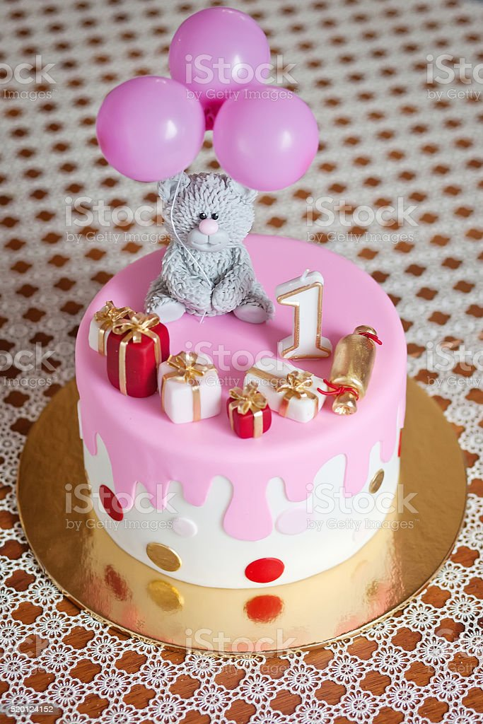 Phenomenal Colorful Decoration Of A First Year Birthday Cake Stockfoto En Funny Birthday Cards Online Alyptdamsfinfo