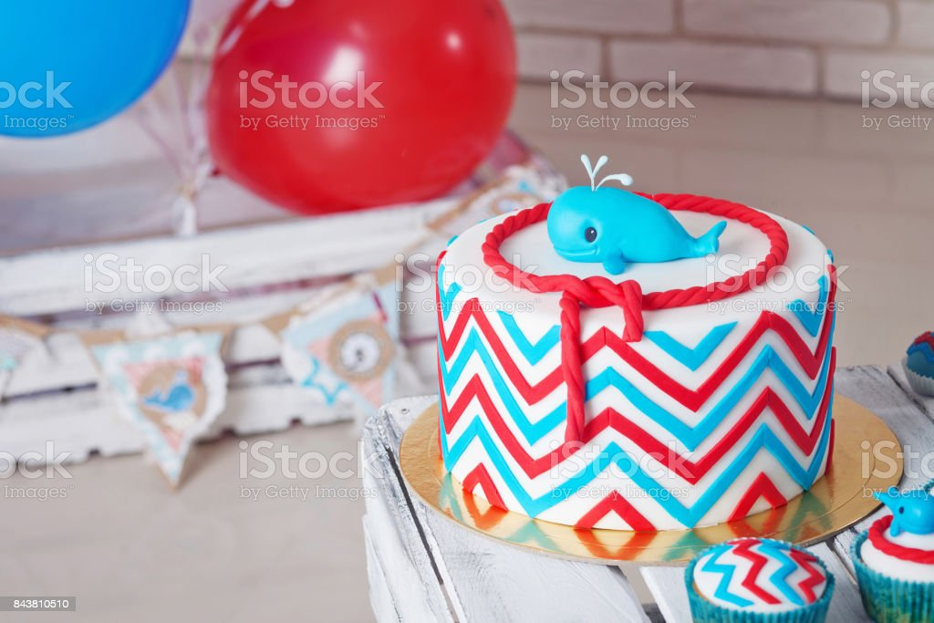 Colorful Decoration Of A First Year Birthday Cake Stock Photo More