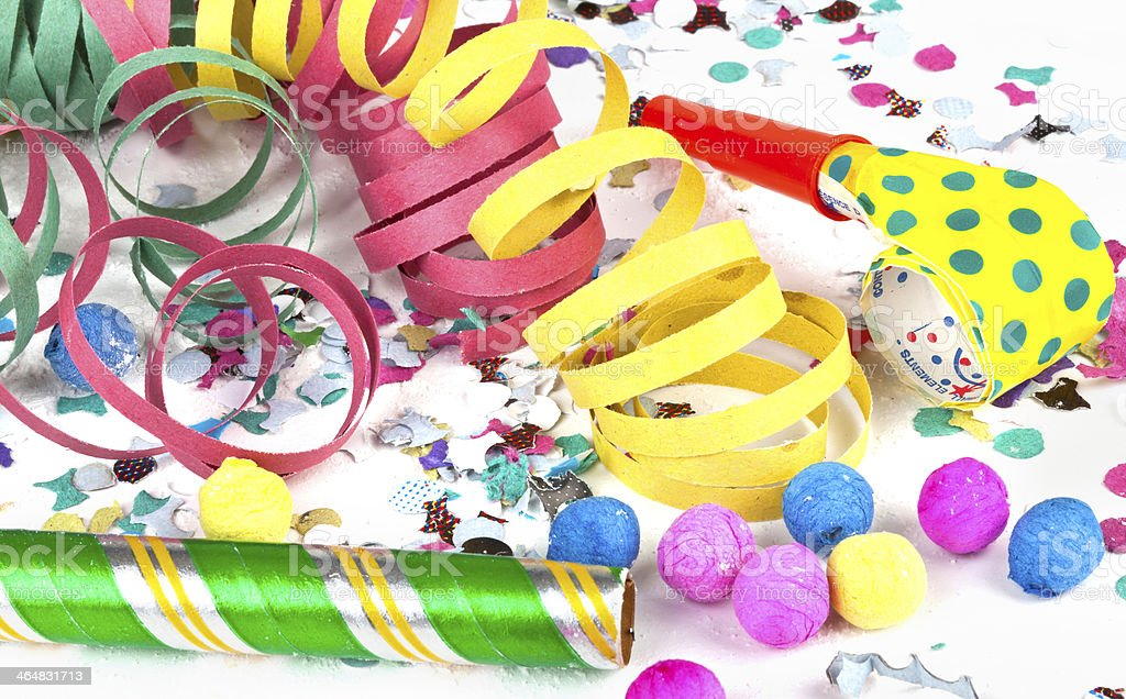 Colorful decoration with garlands, streamer, and confetti. stock photo