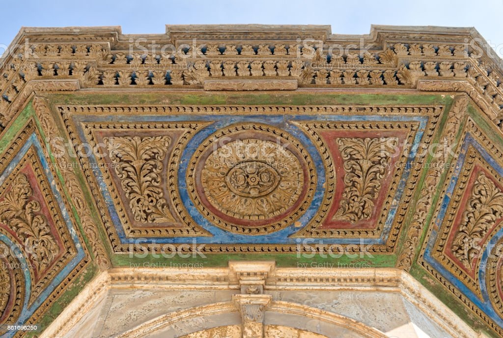 Colorful decorative panel of the ceiling of ablution fountain in front of the Great Mosque of Muhammad Ali Pasha, Citadel of Cairo, Egypt stock photo