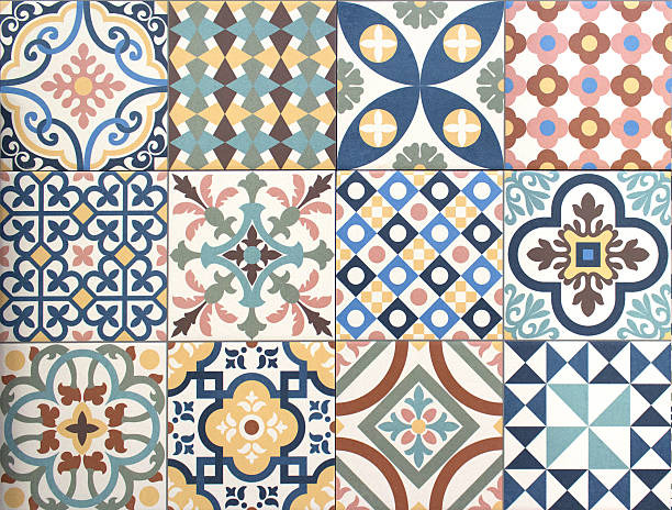 colorful, decorative tile pattern patchwork design - 馬賽克 個照片及圖片檔