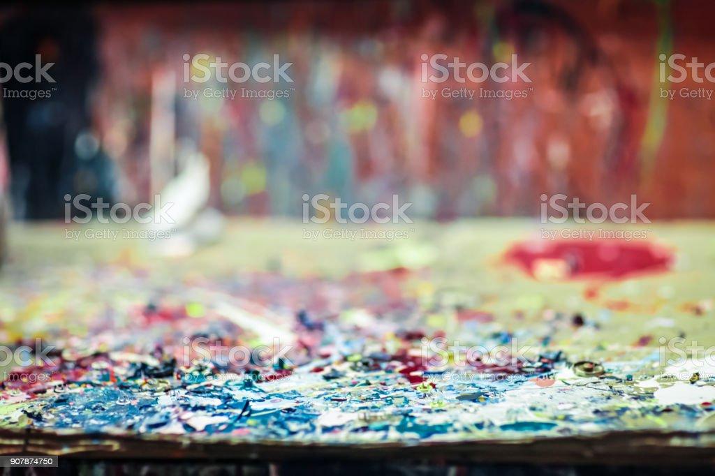 Colorful defocused background - Painting workshop stock photo