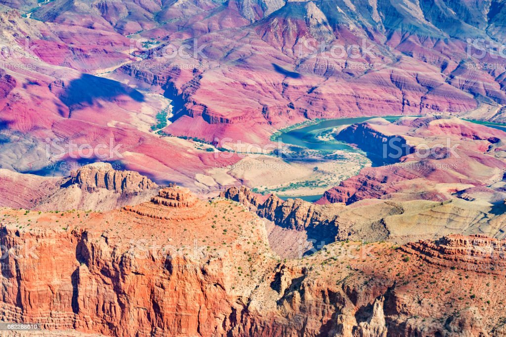 Colorful Detail of the Grand Canyon and Colorado River in Arizona USA stock photo