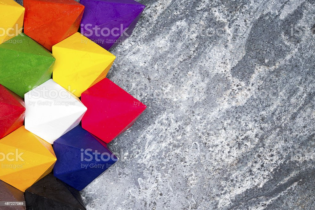Colorful diamond shaped wax crayons royalty-free stock photo