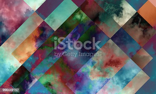 istock Colorful digital background art made with photo collage technique. Clouds used in rectangular shapes. 996449152