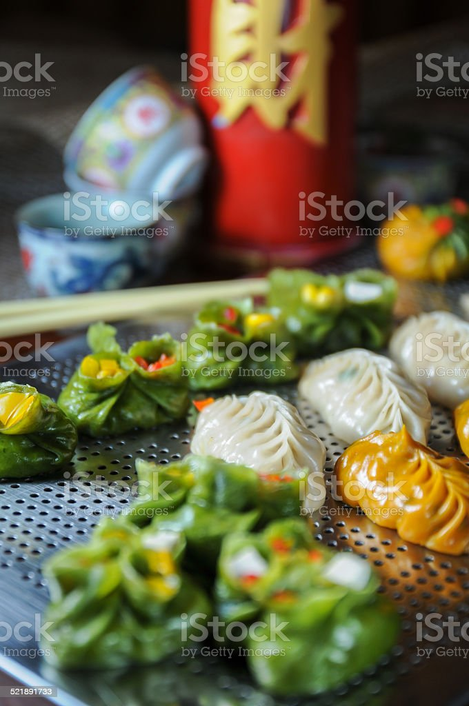 Colorful Dim Sum food close-up stock photo