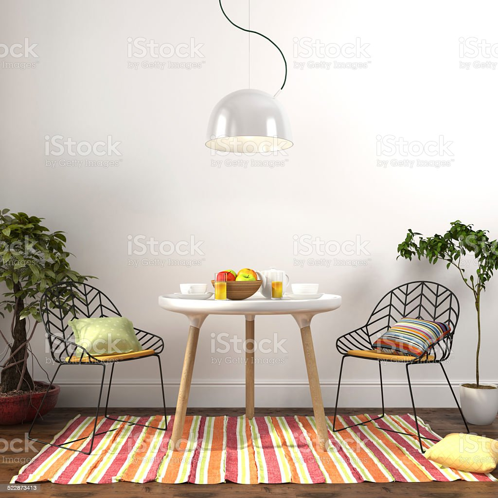 Colorful dining room interior stock photo