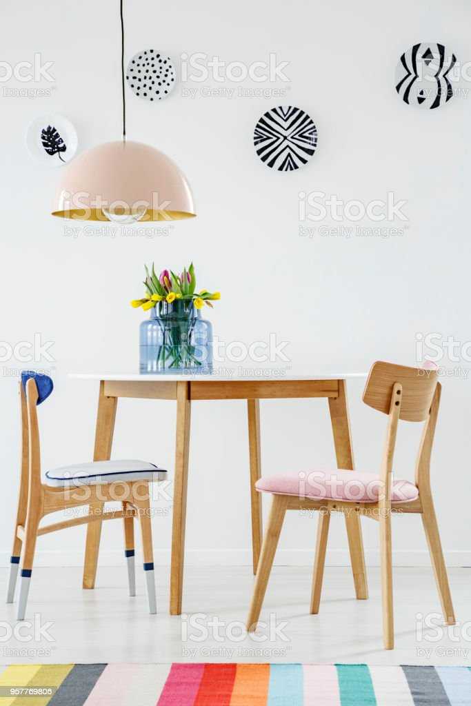 Colorful Dining Room Interior With A Table Chairs Striped ...