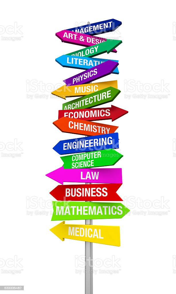Colorful Direction Sign of Majors stock photo