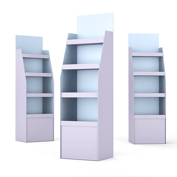 colorful displays with shelves stock photo