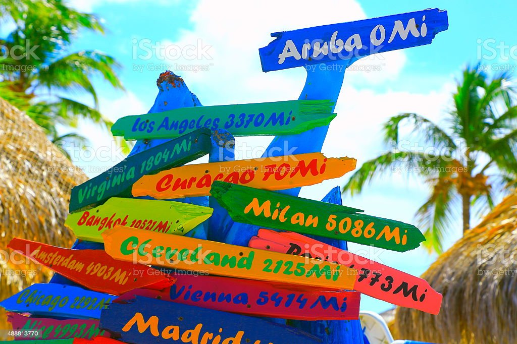Colorful distances to various locations around the world, Aruba stock photo