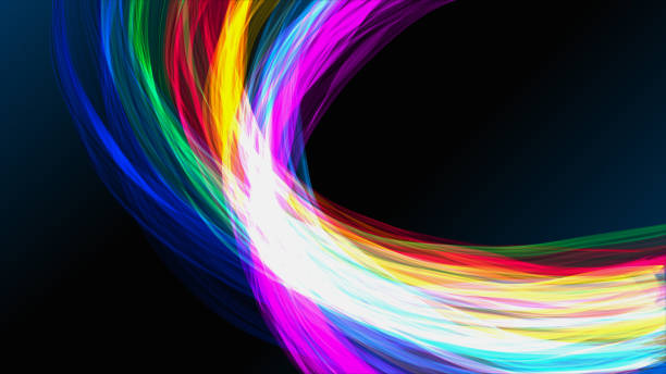 colorful distorted ribbons backgrounds - spectrum stock pictures, royalty-free photos & images
