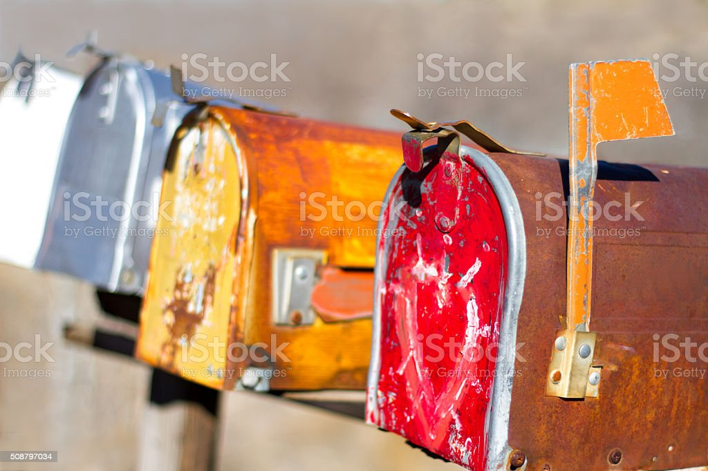 Colorful Distressed Rural Mailboxes stock photo