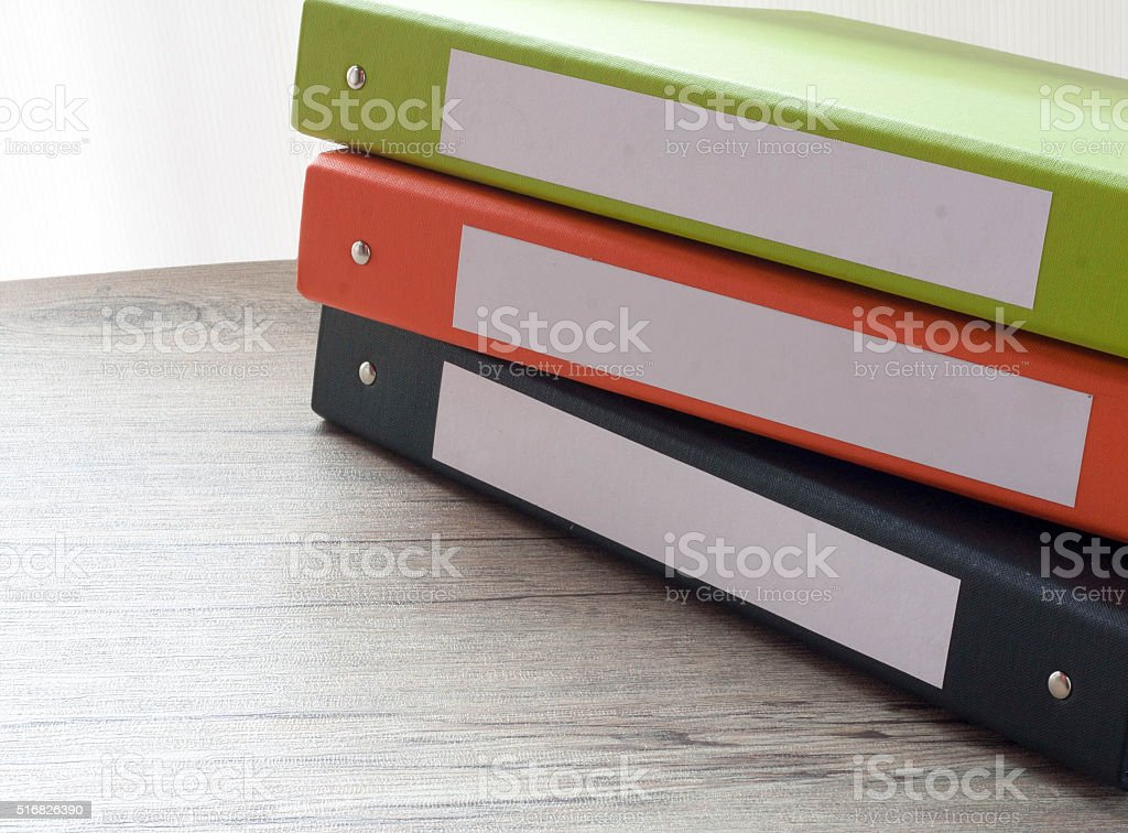 Colorful document binders stock photo