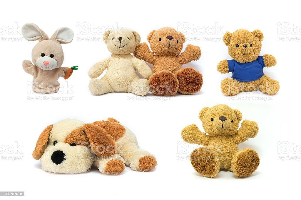 Colorful Doll and Toys Collection isolated on white background stock photo