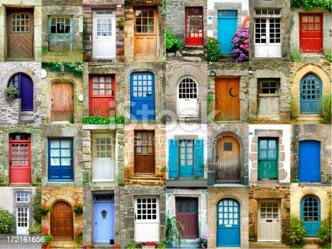 istock Colorful doors in French region of Brittany 172161656
