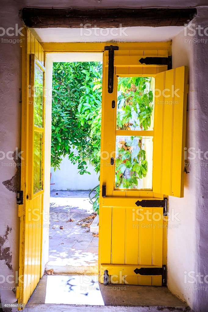 Colorful doors in Portugal stock photo