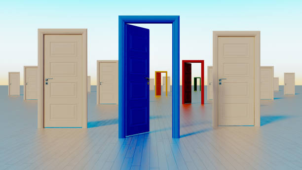 colorful doors to the world of opportunities 3D rendering stock photo