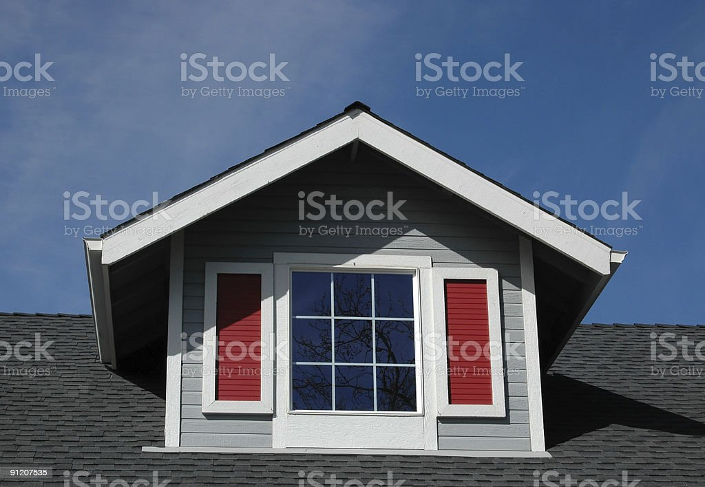 Colorful Dormer Window with Reflection royalty-free stock photo
