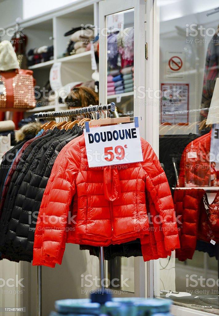 Colorful Doudoune for sale, Paris royalty-free stock photo