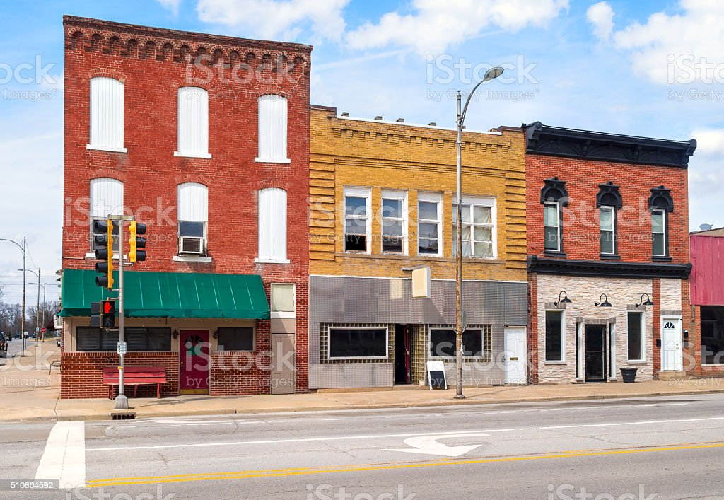 Colorful downtown business storefronts stock photo