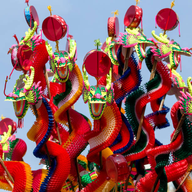 Colorful dragon toys for children in China new year festival. Bangkok, Thailand stock photo