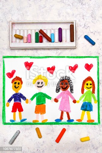 1092709104istockphoto Colorful drawing: A group of happy international friends holds hands 1057677322