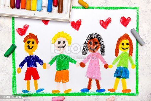 1092709104istockphoto Colorful drawing: A group of happy international friends holds hands 1059162428