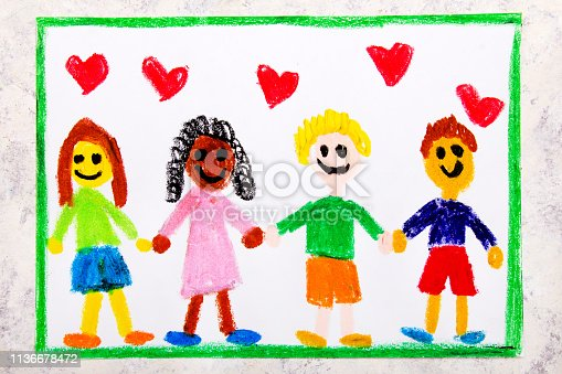 1092709104istockphoto Colorful drawing: A group of happy international friends holds hands 1136678472