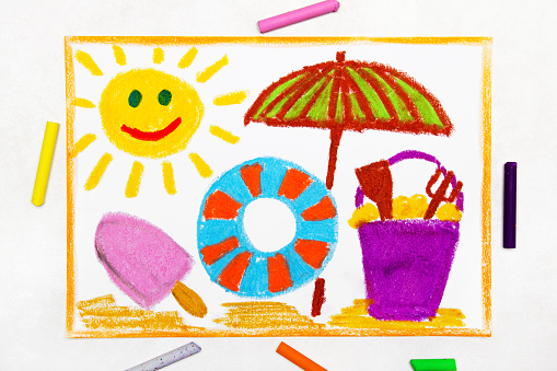 Colorful drawing: beach vacation. Smiling sun, ice cream, lifebuoy and sun umbrella