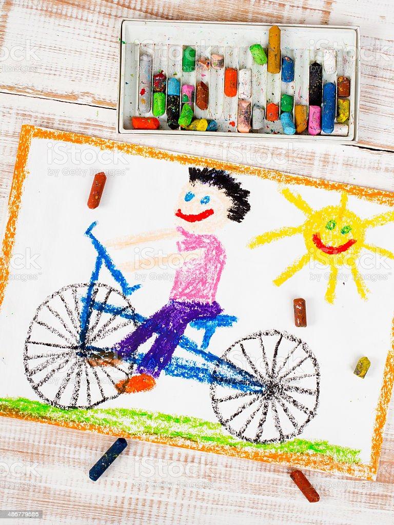 Disegno Colorato Bicicletta Di Equitazione Ragazzo Fotografie