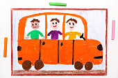 Colorful drawing: bus or school bus with happy children inside