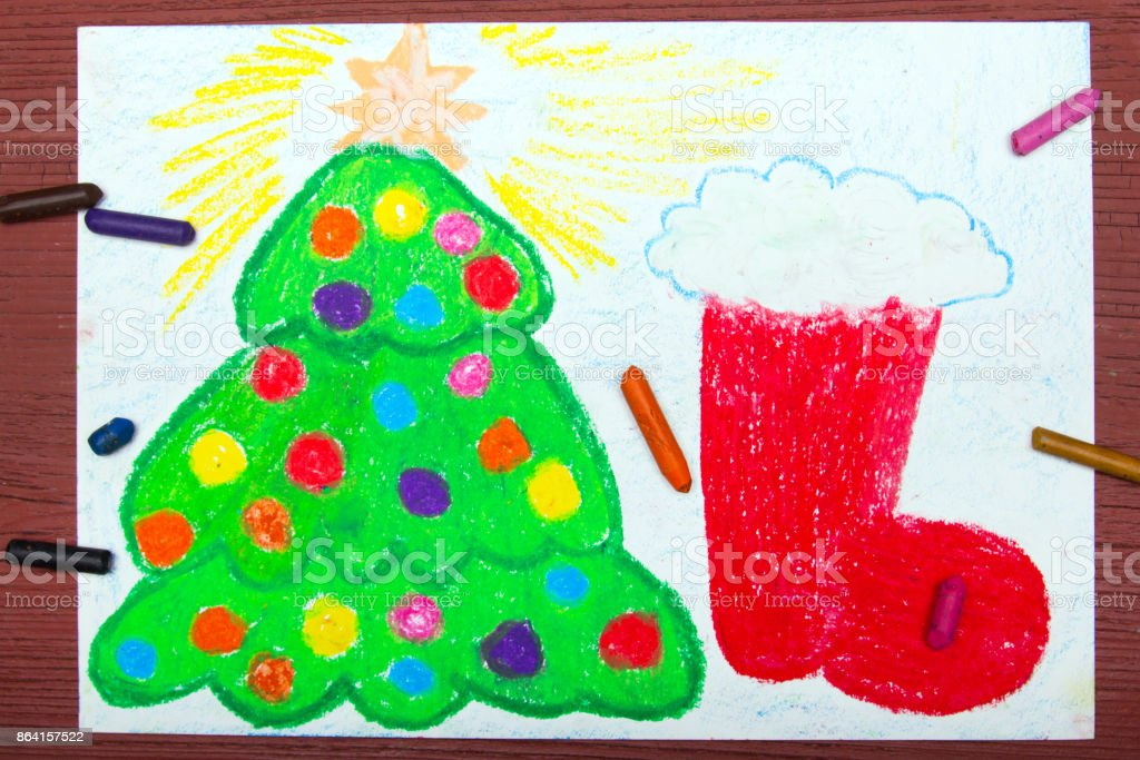 Colorful drawing: Christmas tree and red Christmas sock royalty-free stock photo