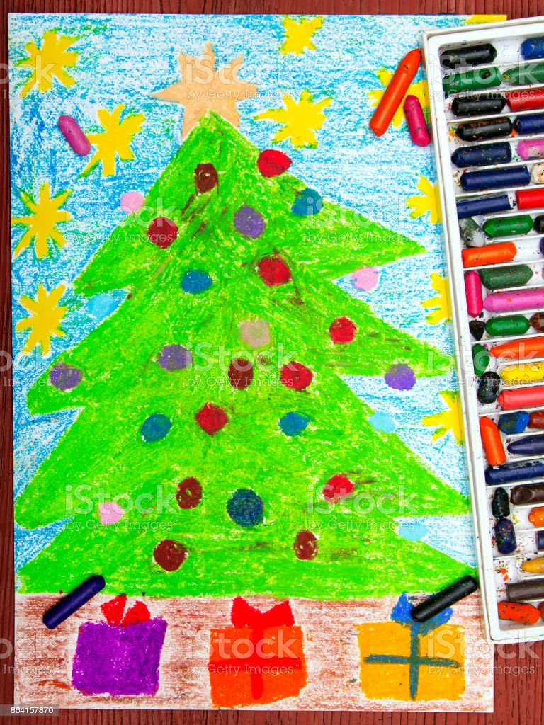 Colorful drawing: Christmas tree royalty-free stock photo