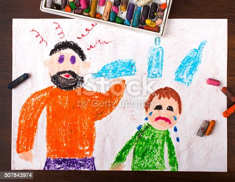 istock Colorful drawing: father drinking alcohol and crying child 507843974
