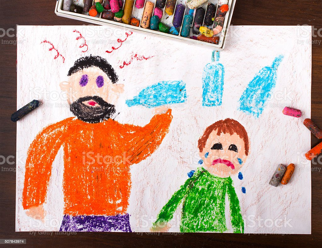 Colorful drawing: father drinking alcohol and crying child stock photo