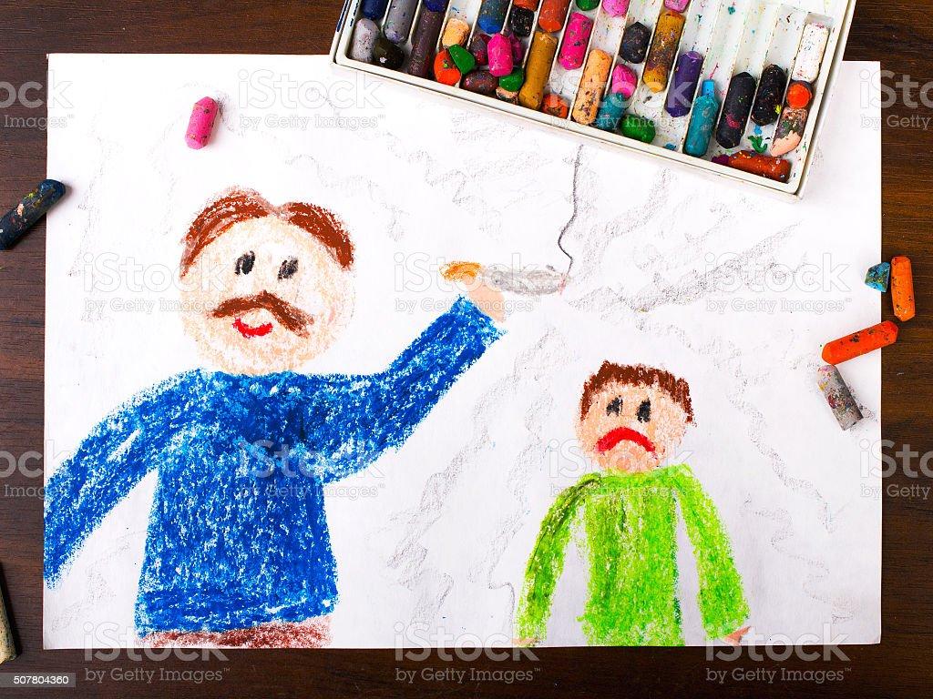 Bunte Zeichnung :  Vater rauchen einer Zigarette und traurigen Kind Lizenzfreies stock-foto